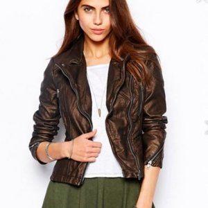 Free People Faux Leather Bronze Metallic Jacket